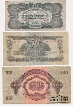 Vöröshadsereg papírpénzei: 20, 50 és 100 pengő (3 db)