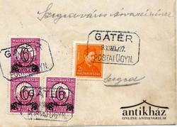Gátér, boríték bélyegekkel, postai bélyegzővel