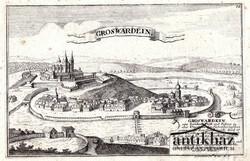 Groswardein (Nagyvárad) rézmetszet (1720 k. Metszette: G. Bodenehr fec.)
