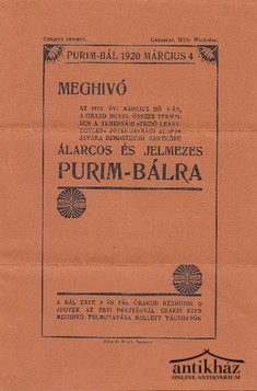 Meghivó - Álarcos és jelmezes Purim-bál 1920 március 4.