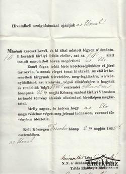 Kőszegi idéző levél 1845.